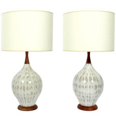 Pair of Mid-Century Ceramic and Wood Lamps
