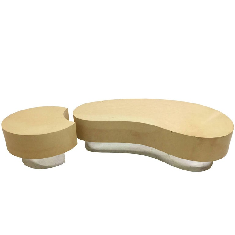 Two Piece Faux Goat Kidney Shaped Coffee Table In The Style Of Karl Springer 1