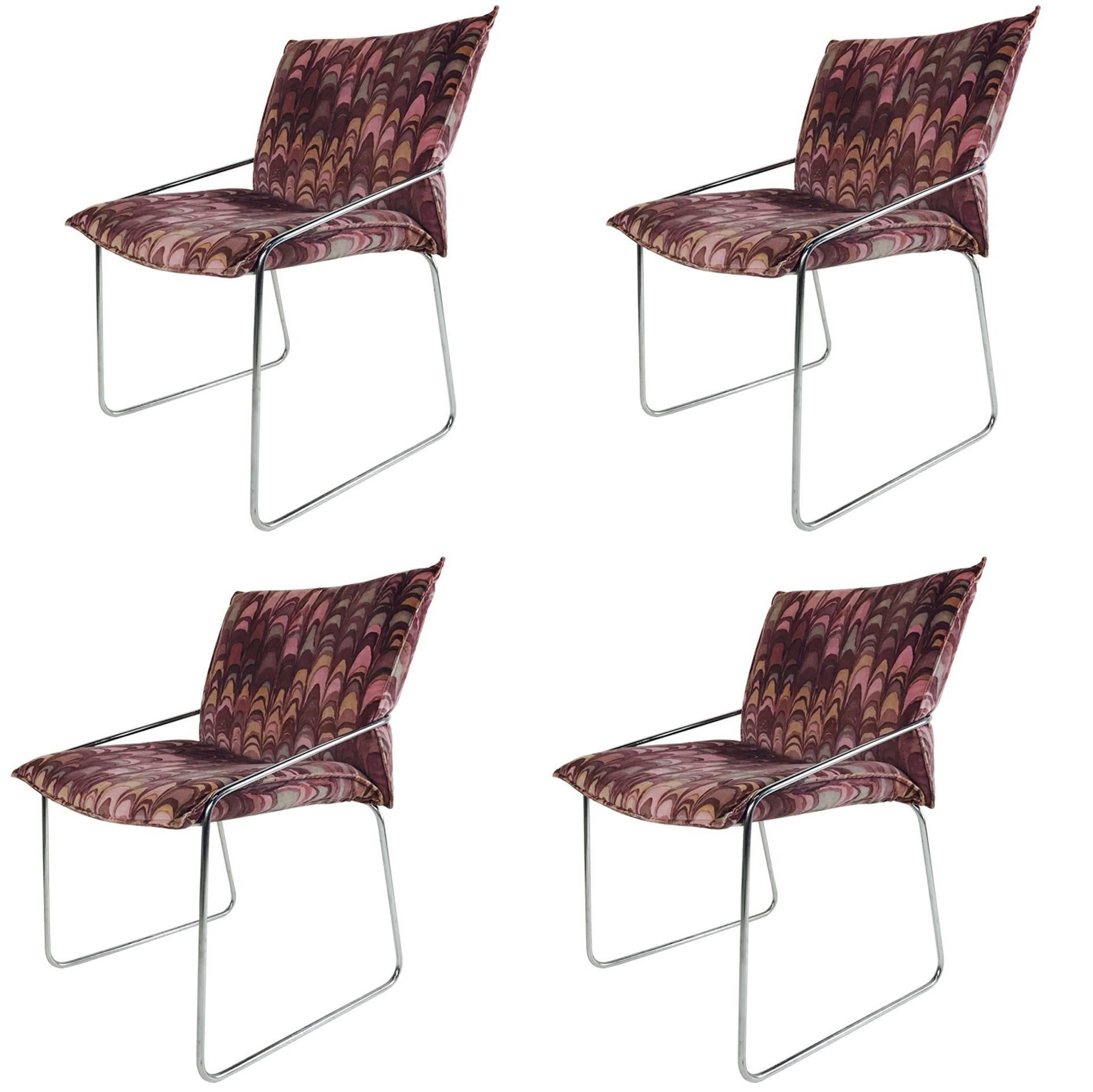 Set of Four Modern Chrome Dining Chairs with Jack Lenor Larsen Fabric