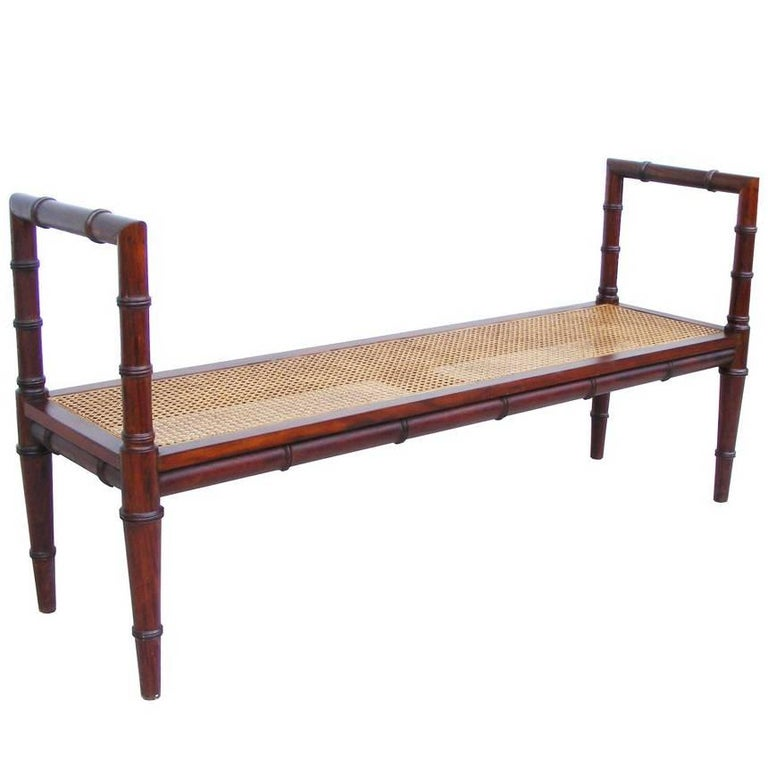 Vintage Midcentury Chin Hua Cane Rosewood Bench (MR15253) 1