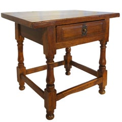 19th Century Antique Italian Rustic Tuscan Walnut Side Table