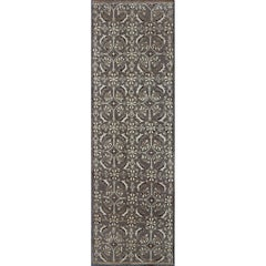 Vintage Turkish Runner with All-Over Blossoms Pattern in Light Charcoal & Ivory