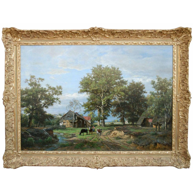 'Life on the Farm' 1866 Oil on Canvas Landscape Painting by Theodore Fourmois