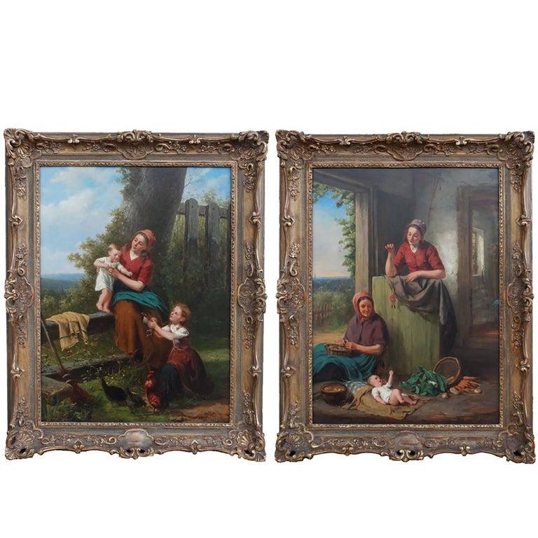 Teaching Baby, 19th Century Dutch Oil on Board Genre Paintings by Jan Walraven