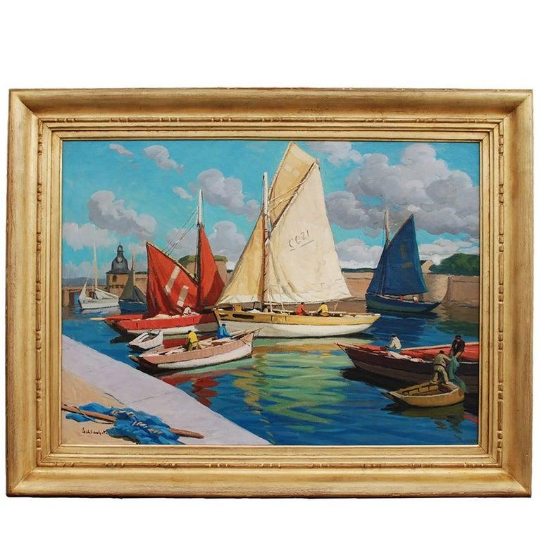 'Concarneau Harbor' Marine Oil on Canvas Painting by Paul André Jean Eschbach