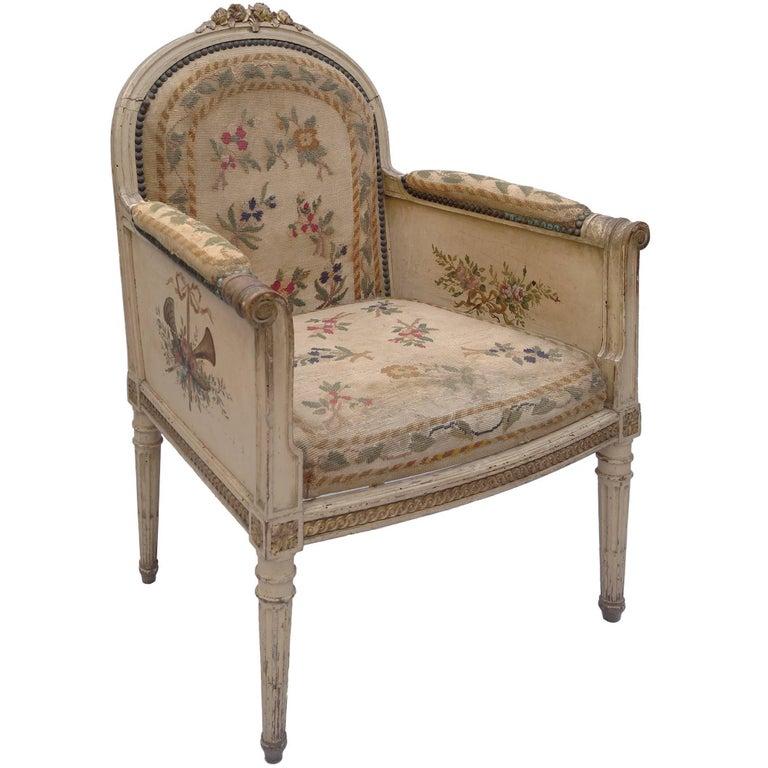 Unique Hand-Painted Louis XVI Ladies Chair, France, 1970s