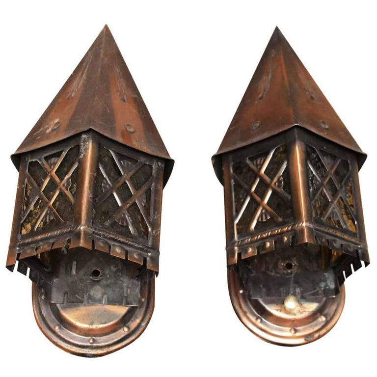 1940s Pair of Tudor Style Copper Lantern Sconces with Textured Glass