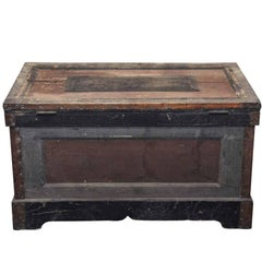 1800s, Wood Tool Chest Trunk with Original Paint from New England