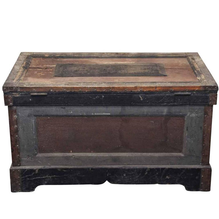 1800s, Wood Tool Chest Trunk with Original Paint from New England For Sale