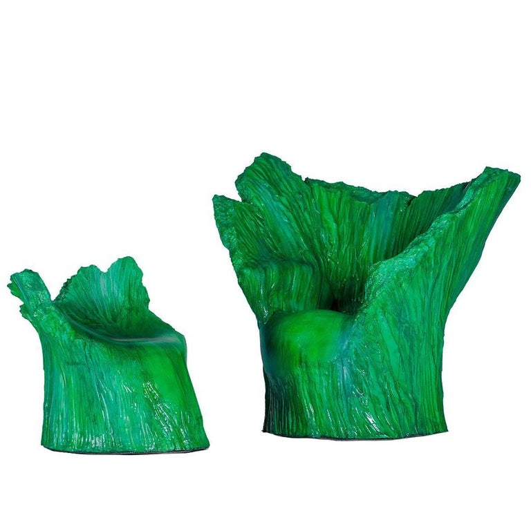 "Armchair ""Green"" and Pouf Hand-Carved Polyurethane Body Numbered from 1 to 30 1"