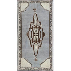 Vintage Turkish Oushak Rug with Central Medallion and Floral Borders in Ice Blue