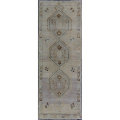 Vintage Turkish Oushak Runner with Tribal Medallions in Lavender, Taupe & Brown