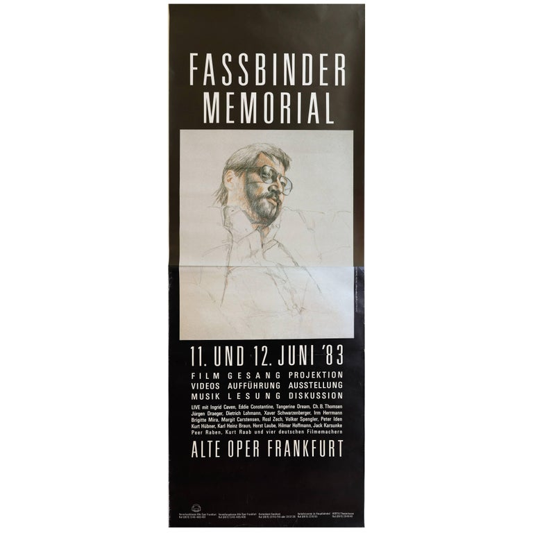 Rare Two-Piece Poster for R.W. Fassbinder Memorial in Germany, 1983 For Sale
