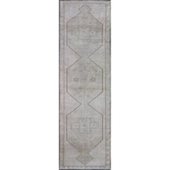 Vintage Turkish Oushak Gallery Runner with Tribal Medallions in Warm Gray/Brown