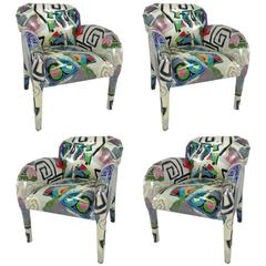 Set of Four Donghia Lounge Chairs in Original Hand-Painted Fabric