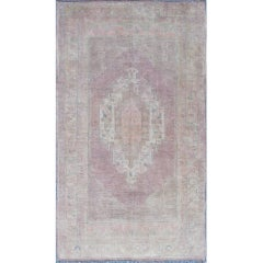 Vintage Muted Oushak Rug from Turkey with Medallion in Lavender and Light Pink