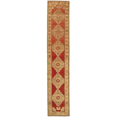Very Long Turkish Oushak Runner with Floral and Geometrics in Red, Neutrals