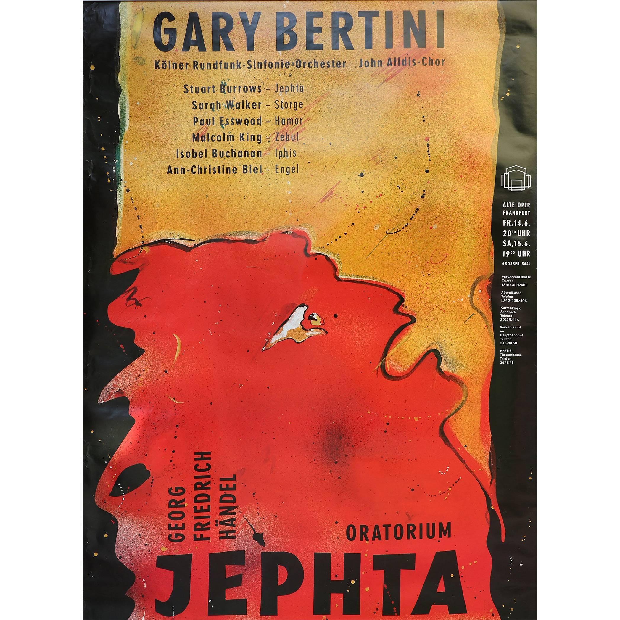 """Gary Bertini - Jephta"", Concert Poster 1985 Alte Oper Frankfurt, Germany"