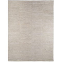 Textured Solid White Wool Area Rug in Shiva Puri Weave