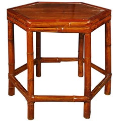 Vintage Chinese Six-Sided Bamboo Table