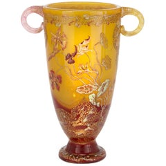 Antique Art Nouveau Style Yellow Glass Vase with Twin Handles by Emile Gallé
