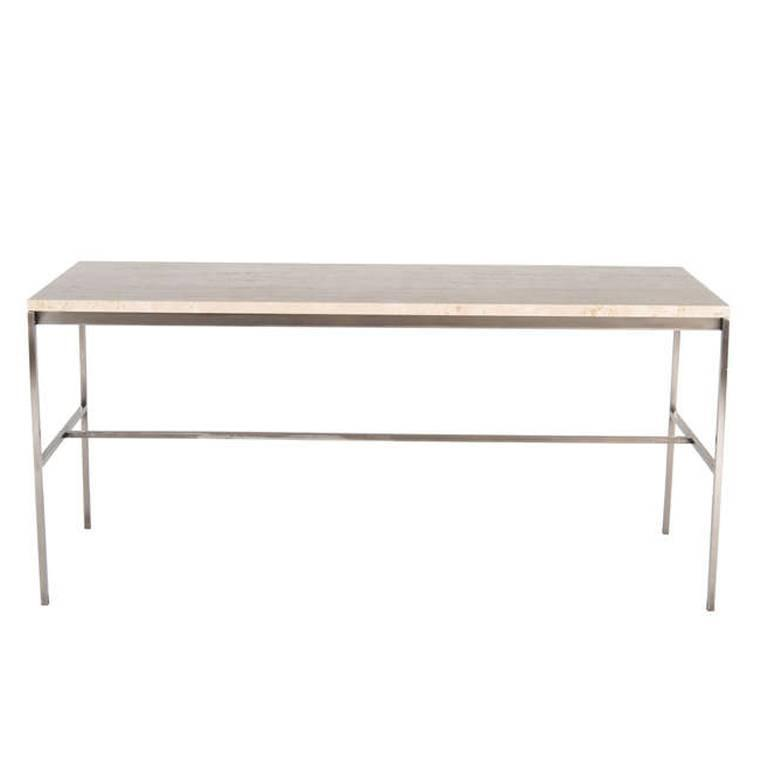 Tucker Travertine Top Console Table