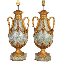 Pair of Louis XVI Style Marble Urn or Lamps, 19th Century