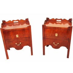 Antique 18th Century Pair of Tray Top Commodes or Bedside Tables