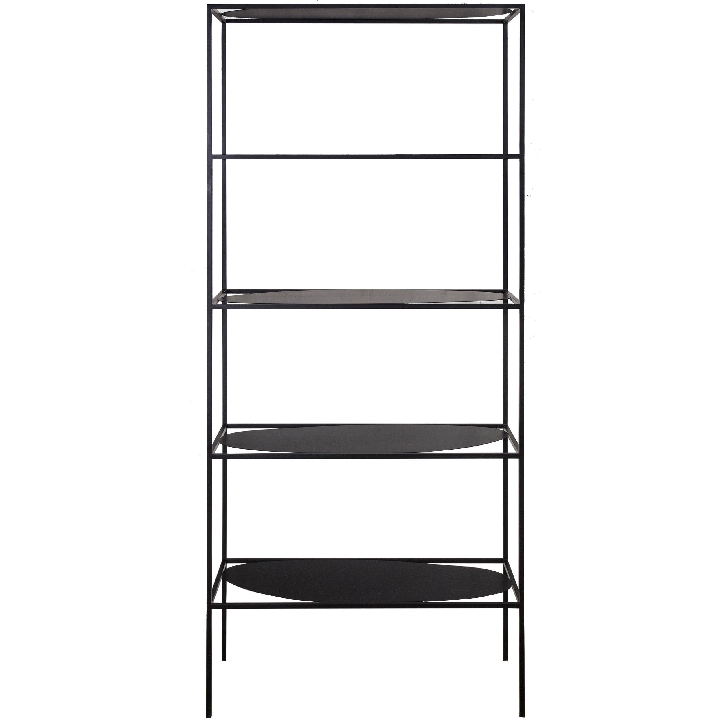 Contemporary Sculptural Black Steel Etagere Bookcase Storage Shelf USA