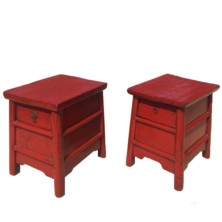 Pair of 19th Century Red Lacquer Country Stools, Chinese Antique Stools
