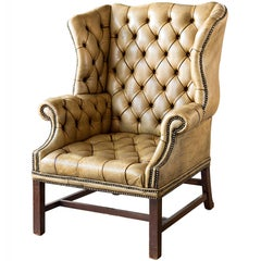 Late 19th Century English Leather Wingback Chair