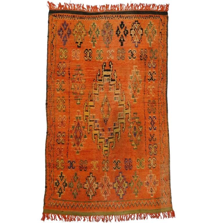 Fantastic Vintage North African Tribal Berber Carpet For