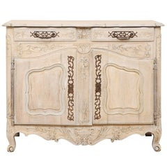 French 19th C. Carved and Painted 2-Door Buffet, Adorn with Beautiful Hardware