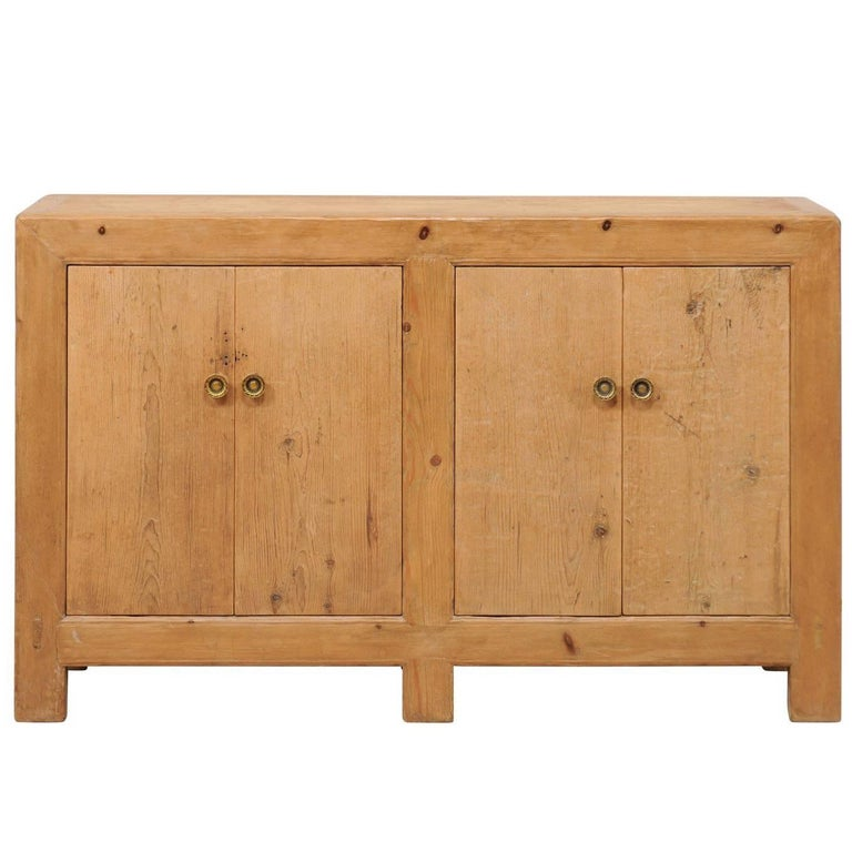 Vintage Asian Reclaimed Wood Buffet Console Server with Four Doors