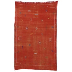 Cactus Silk Vintage Moroccan Kilim Rug, Red-Orange Flat-Weave
