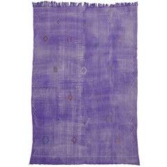 Cactus Silk Moroccan Kilim Rug, Periwinkle Purple Flat-Weave