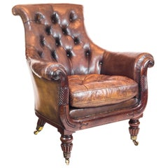 Superb English Regency Mahogany and Distressed Tobacco Leather Library Armchair