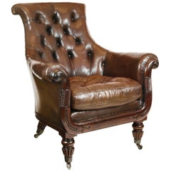 19th C English Regency Mahogany and Buttoned Brown Leather Library Club Armchair
