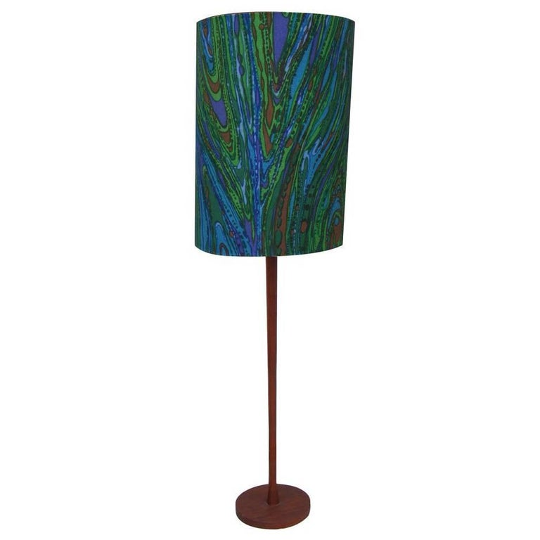 Vintage Mid-Century Teak Floor Lamp with Jack Larsen Style Shade 'MR15257' For Sale