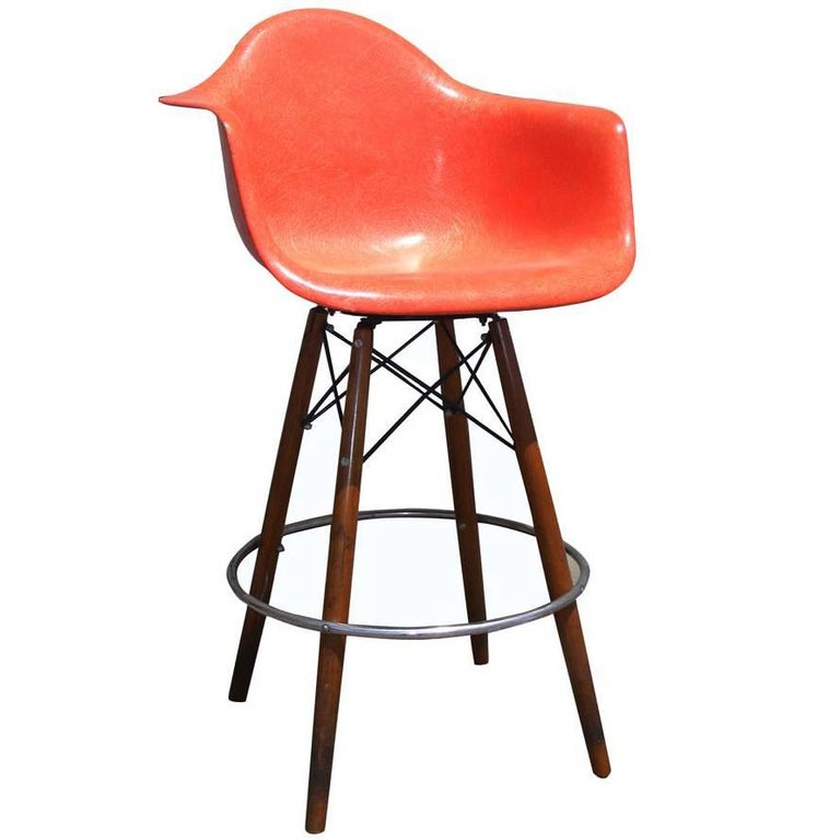 1 Mid-Century Eames Herman Miller Fiberglass Arm Shell Chair Walnut Bar Stool For Sale