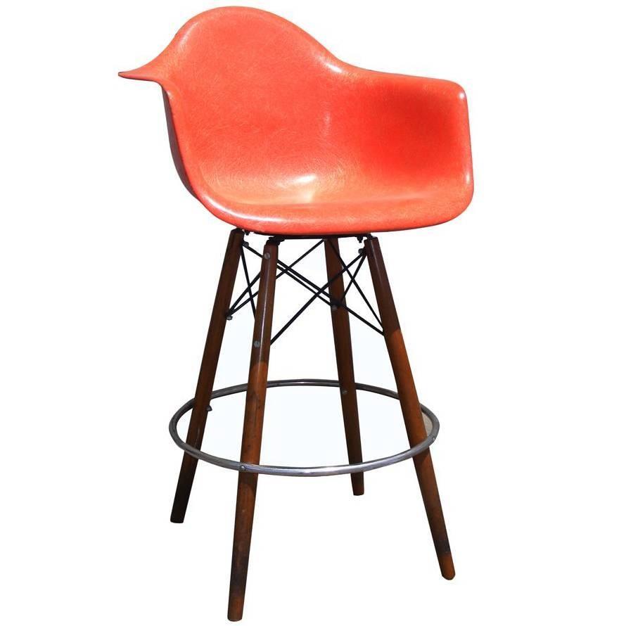 1 Mid Century Eames Herman Miller Fiberglass Arm Shell Chair Walnut Bar  Stool For Sale