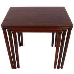 Set of Three Danish Modern Solid Rosewood Nesting Tables, Circa 1960