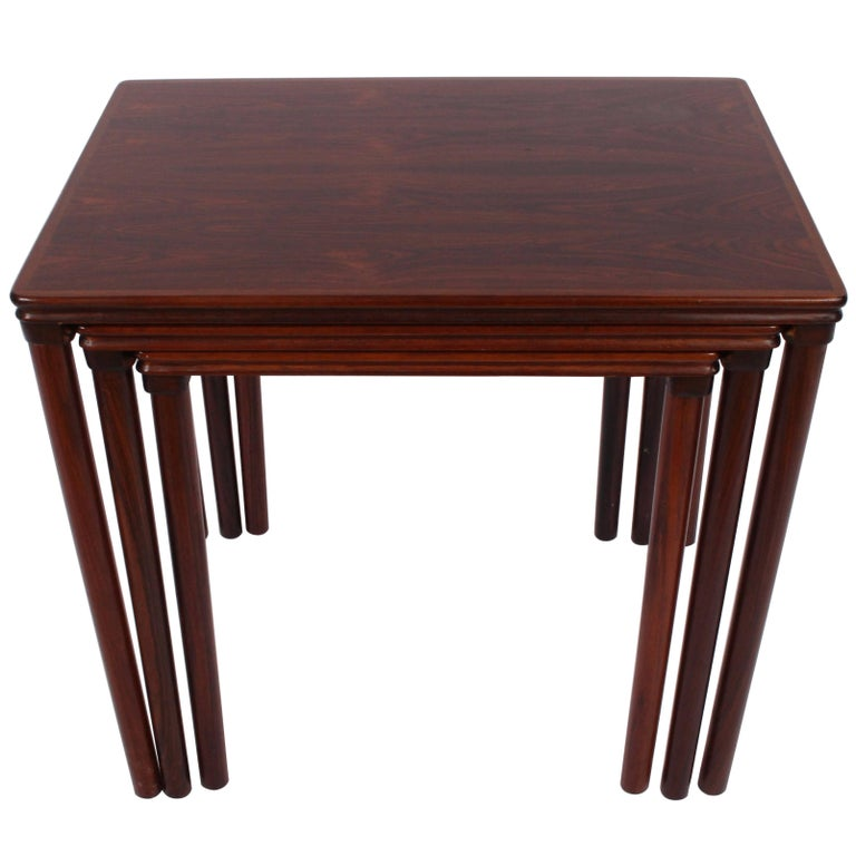 Set Of Three Rosewood And Ceramic Tile Danish Modern Nesting Tables - Nesting table with drawer