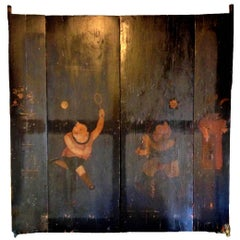 Pair of Antique Black Lacquered Doors, with Painted Images of Children