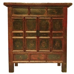 Early 19th Century Red and Black Chest with Very Old Original Paintings