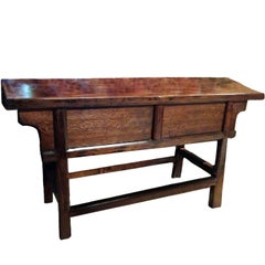 Antique Farm Table with Sliding Doors and Single Board Top