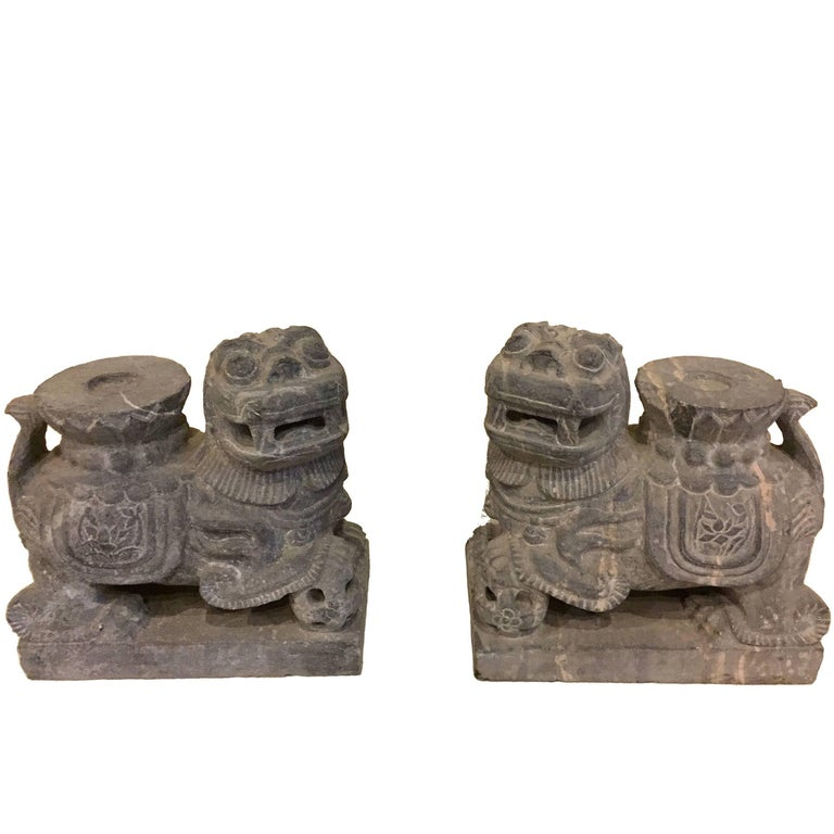 Pair of Stone Foo Dogs, Stone Candle Holders, Garden Statues For Sale