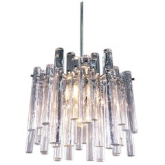 Iced Crystal Rod Chandelier Glass & Chrome by Kinkeldey, Germany, 1960s