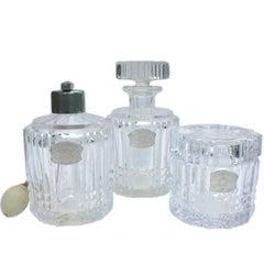 Fabulous Val Saint Lambert Clear Crystal Three-Piece Dresser Set, 20th Century