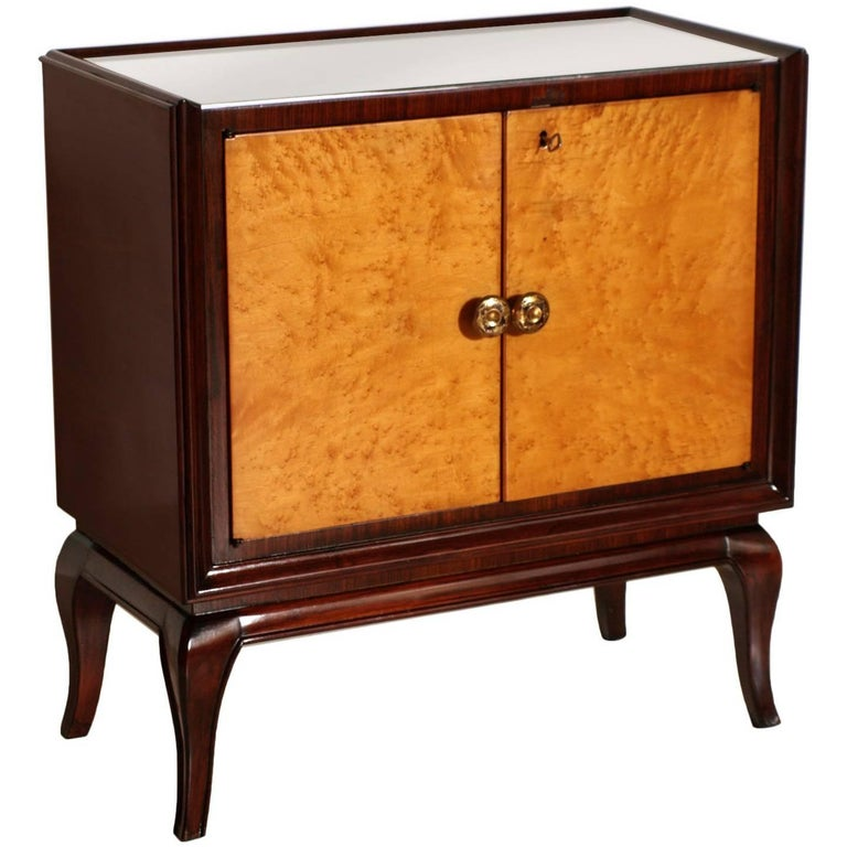1930s Art Deco Dry Bar Cabinet, Mahogany, Burl Elm, Mirror Internal, Glass Top For Sale